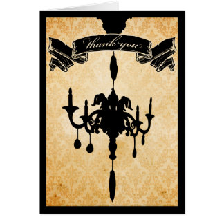 Victorian Chandelier • black & cream Thank You Cards