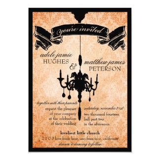 Victorian Chandelier • black & pale orange Wedding 5x7 Paper Invitation Card