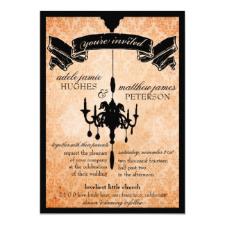 Victorian Chandelier • black & pale orange Wedding Personalized Announcements