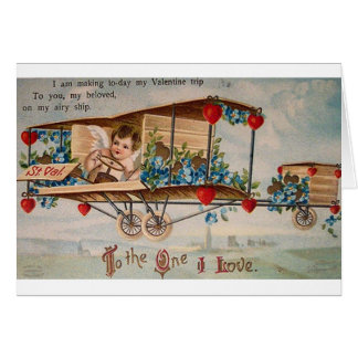 Victorian Cherub Airplane Valentine's Day Card
