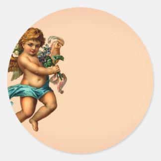 Victorian Cherub Classic Round Sticker
