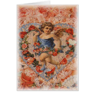 Victorian Cherub with Hearts and Lace Card