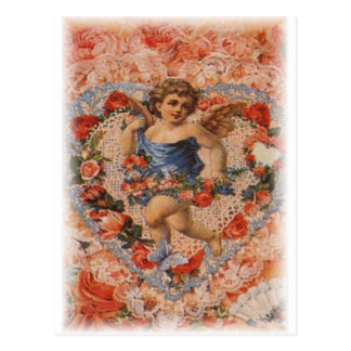 Victorian Cherub with Hearts and Lace Postcard