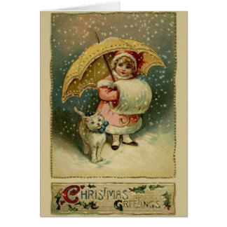 Victorian Child and Cat in Snow Christmas Card
