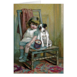 Victorian Child and Dog with Toy Drum Card
