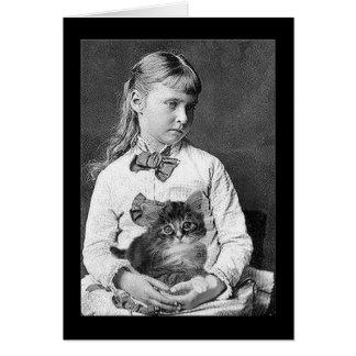 Victorian Child and Kitten Card