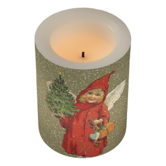 Victorian Child Christmas Angel With Tree Red Cape Flameless Candle