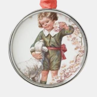 Victorian Child Lamb Cherry Tree Metal Ornament