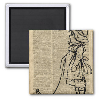 Victorian Child on a Dictionary Page 2 Inch Square Magnet