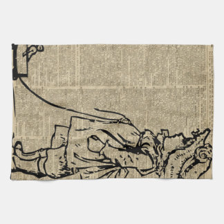 Victorian Child on a Dictionary Page Kitchen Towels