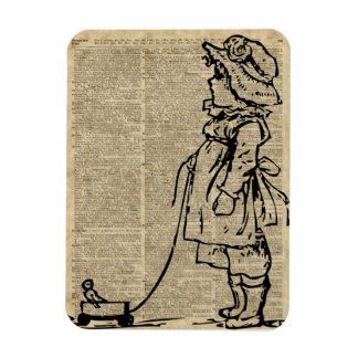 Victorian Child on a Dictionary Page Rectangular Photo Magnet