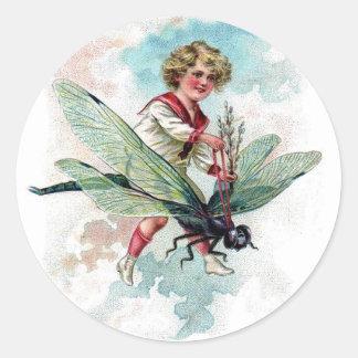 Victorian Child on Dragonfly Vintage Postcard Art Sticker