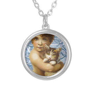 Victorian Child With Cat Hug Love Round Pendant Necklace
