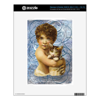 Victorian Child With Cat Hug Love Skin For NOOK