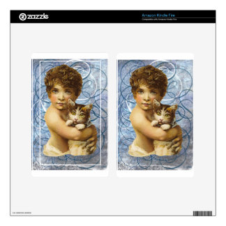 Victorian Child With Cat Hug Love Skins For Kindle Fire