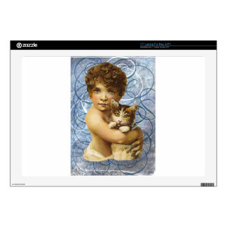 """Victorian Child With Cat Hug Love 17"""" Laptop Skins"""