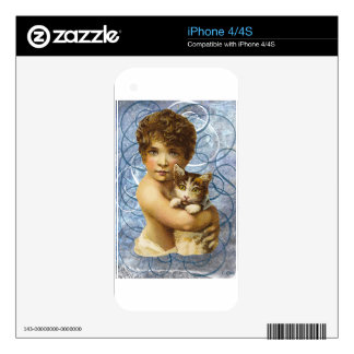 Victorian Child With Cat Hug Love Skin For iPhone 4