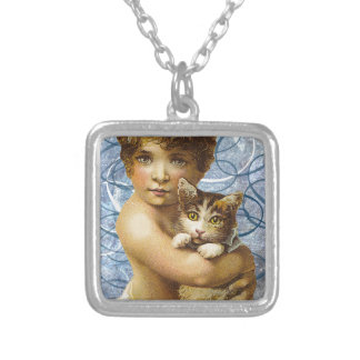 Victorian Child With Cat Hug Love Square Pendant Necklace