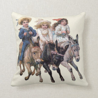 Victorian Children and Horses Throw Pillow