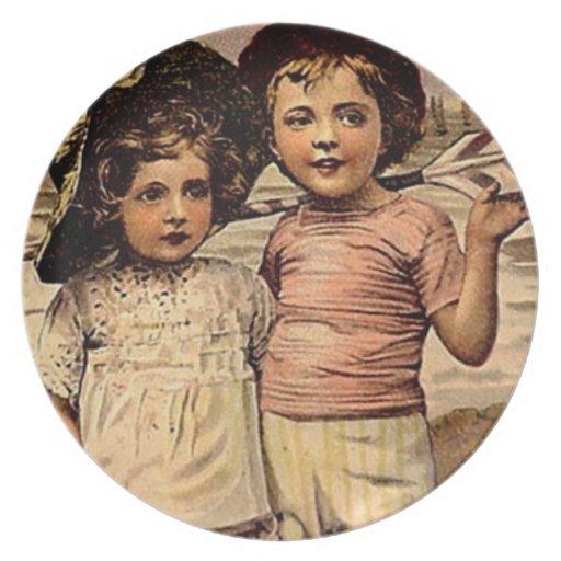 Victorian Children at Beach Vintage Postcard Art Plates