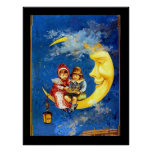 Victorian Children at the moon vintage poster