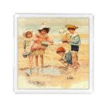 Victorian Children Beach Seashore Sandcastles Acrylic Tray