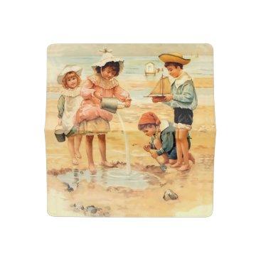 Beach Themed Victorian Children Beach Seashore Sandcastles Checkbook Cover