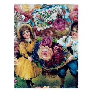 Victorian Children Boy Girl Roses Basket Art Postcard