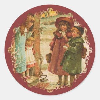Victorian Children Christmas Sticker