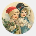 Victorian Children Christmas Stickers