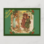 Victorian Children Christmas Vintage Postcard