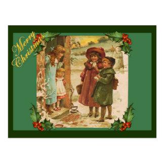 Victorian Children Christmas Vintage Postcard