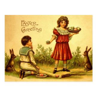 Victorian Children Easter Bunnies Antique Postcard