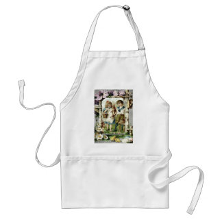 Victorian Children Easter Bunny Chick Egg Birdhous Adult Apron