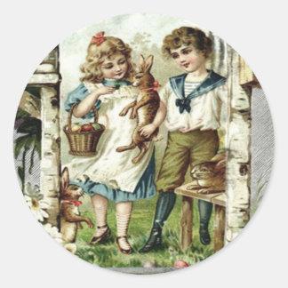 Victorian Children Easter Bunny Chick Egg Birdhous Classic Round Sticker