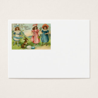 Victorian Children Easter Bunny Colored Egg Business Card