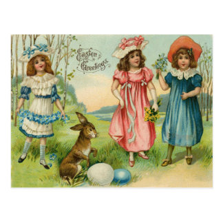 Victorian Children Easter Bunny Colored Egg Postcard