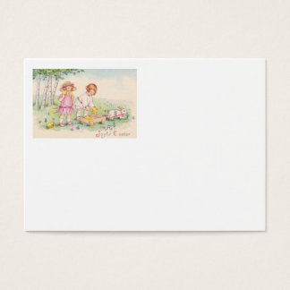 Victorian Children Easter Chick Bunny Field Business Card