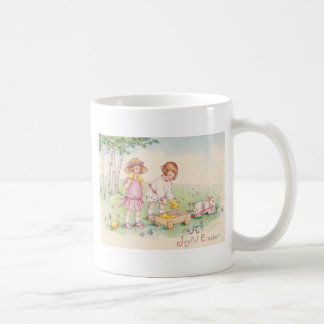 Victorian Children Easter Chick Bunny Field Coffee Mug