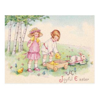 Victorian Children Easter Chick Bunny Field Postcard