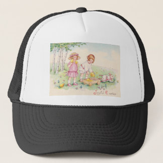 Victorian Children Easter Chick Bunny Field Trucker Hat