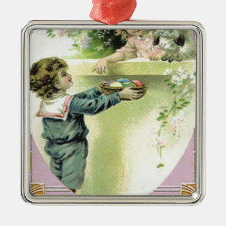 Victorian Children Easter Egg Bunny Lily Square Metal Christmas Ornament
