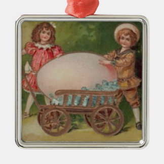 Victorian Children Easter Egg Forget Me Nots Wagon Square Metal Christmas Ornament