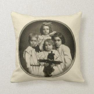Victorian Children Funny Creepy Evil Demonic 1900s Throw Pillows