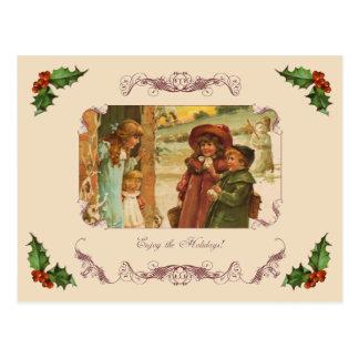 Victorian Children Holiday Break Postcard