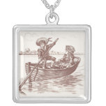 Victorian Children in Rowboat Square Pendant Necklace
