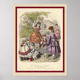 Victorian Children Picking Lilacs Vintage Print