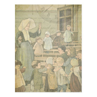 Victorian Children School Classroom Vintage Watch Postcard