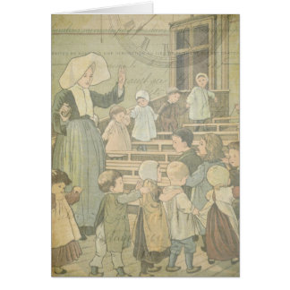 Victorian Children School Vintage Watch Thank You Stationery Note Card