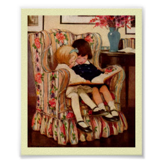 Victorian Children Story Book Art Print